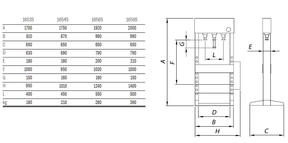 ufeffhydraulic press with moveable piston   ufeff1653s
